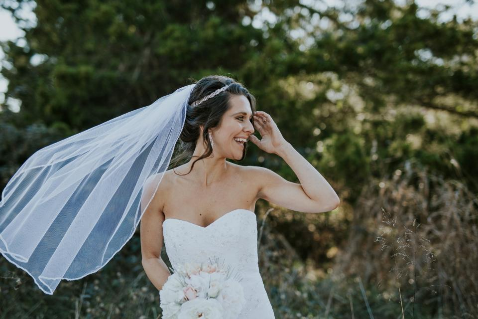 nature, trees, plant, grass, outdoor, people, man, woman, wedding, gown, headdress, flower, bouquet, marriage, smile, happy, bride