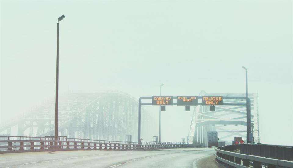 highway, roads, guard rails, bridge, lamp posts, signs, trucks