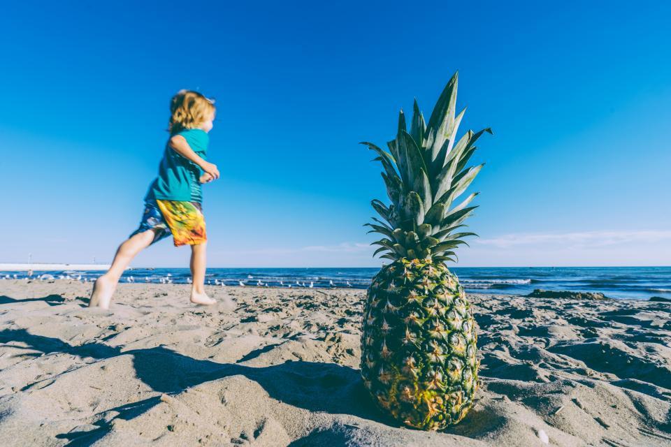 pineapple, dessert, appetizer, fruit, juice, crop, beach, ocean, sea, sand, waves, people, kid, child, boy