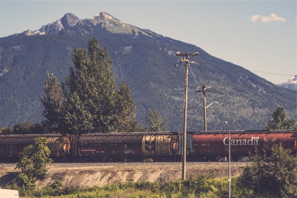 train, railroad, railway, transportation, cargo, mountains, trees, hills, power lines, Canada