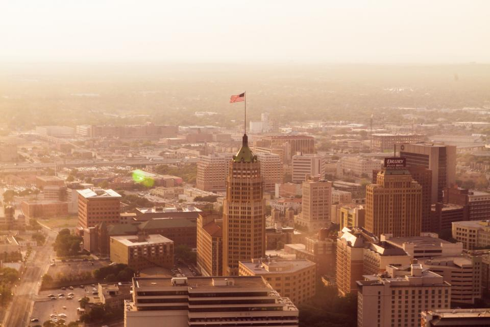 american, flag, buildings, skyscrapers, high rises, towers, architecture, aerial, view, USA, United States of America