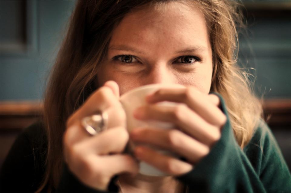 女の子、笑顔、笑顔、幸せ、コーヒー、お茶