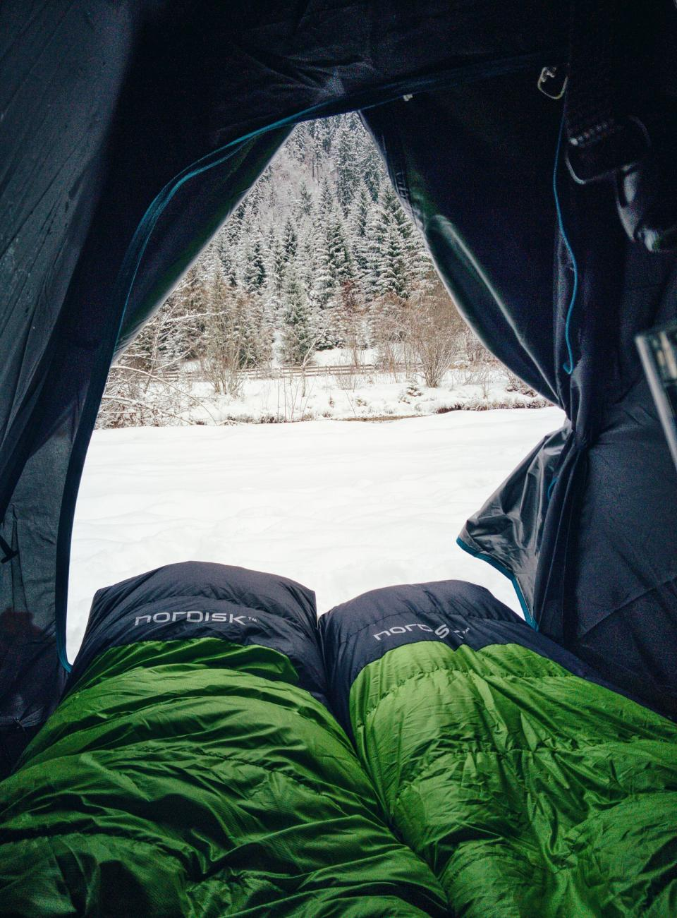 green, sleeping, bag, tent, camping, cold, winter, snow, tree, nature
