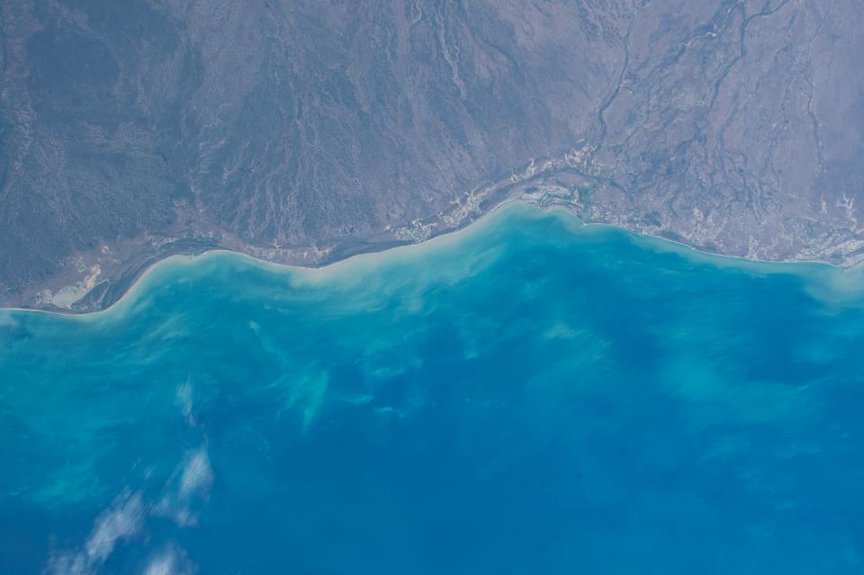 ocean sea water aerial view mountains coast