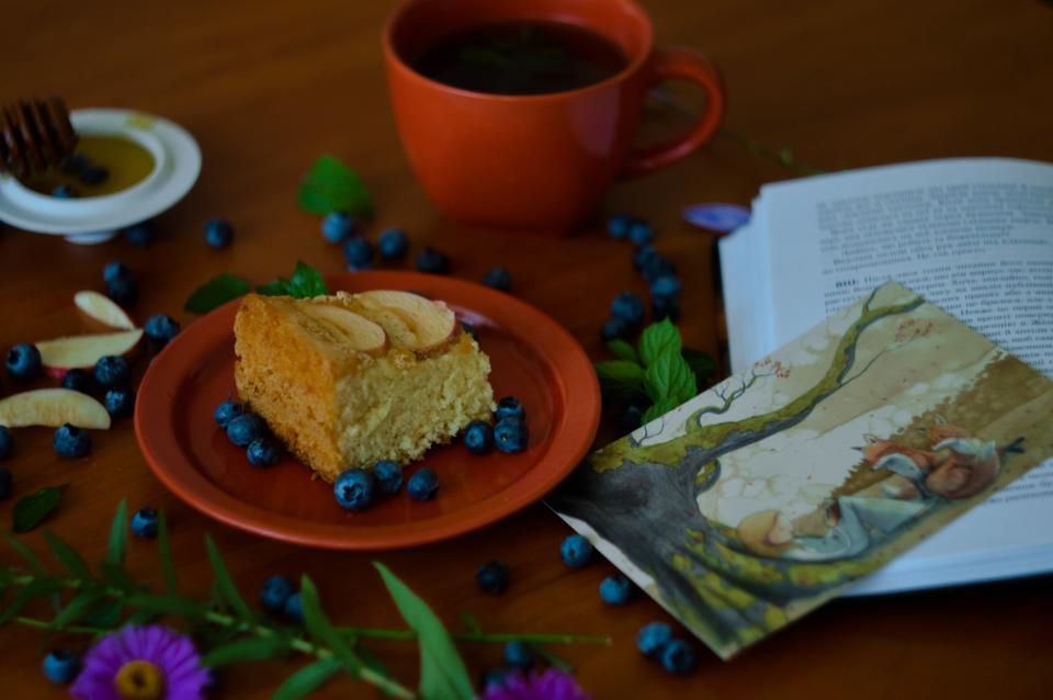 cake blueberry fruit food dessert restaurant coffee mug cup book read flower