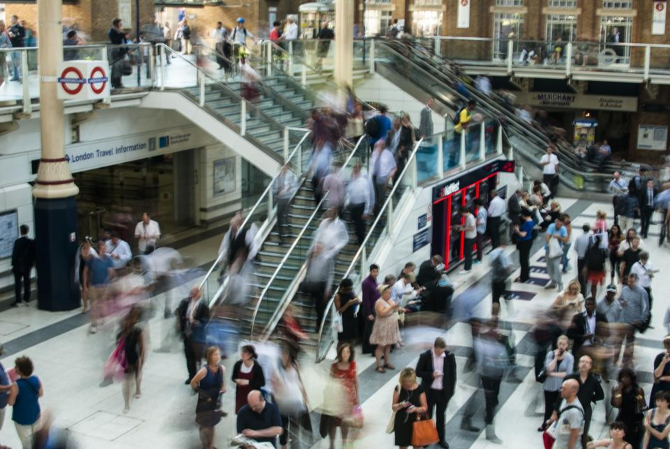 london, underground, train station, people, traffic, busy, crowded, stairs, escalator, stores, shops, travel, merchant, walking, travelling