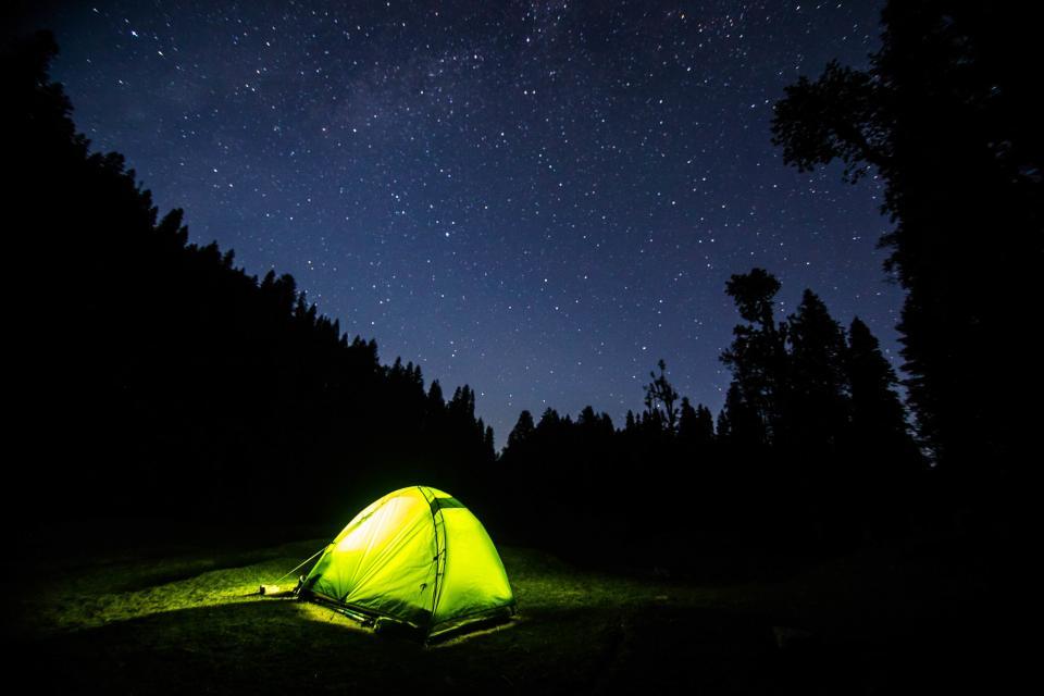 dark, night, blue, sky, stars, galaxy, light, tent, camping, adventure, outdoor, tree, silhouette