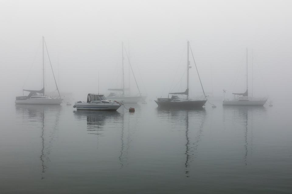 sea, ocean, water, fishing, boat, yacht, transportation, fog