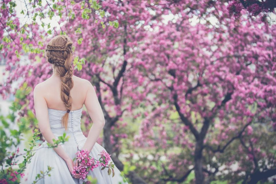 trees plant flower nature outdoor people girl back wedding gown bride braid hairstyle