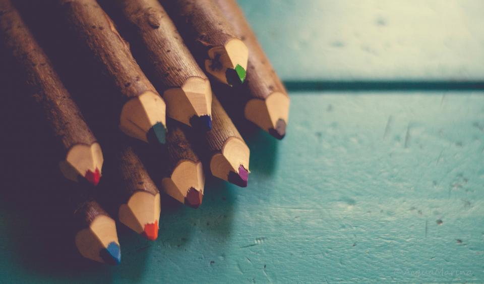 pencils wood art