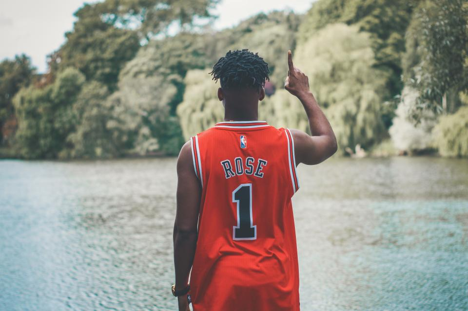 people, red, jersey, basketball, player, one, nature, lake, water, trees, plant, outdoor, blur