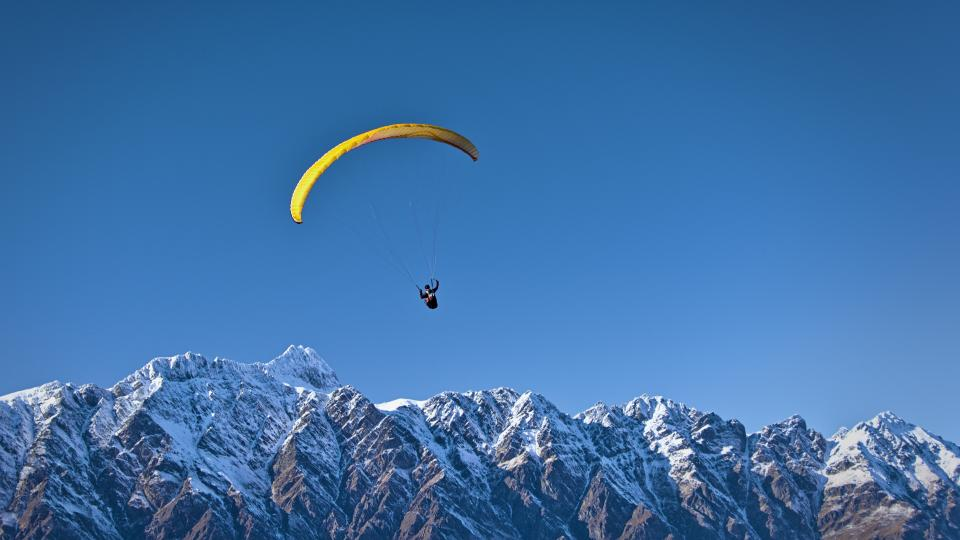 blue, sky, mountain, valley, snow, winter, cold, sport, paragliding, people, man