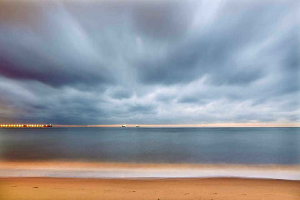 sky, clouds, nature, blue, sunset, beach, sea, ocean, water, orange, light, cruise, ship, travel, tip, view