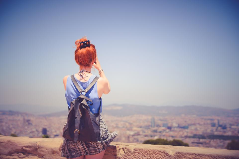 girl woman red head hair people backpack fashion view landscape blue sky summer lifestyle city town looking