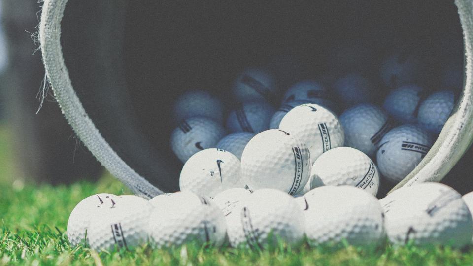 white, ball, golf, sport, game, green, grass, field