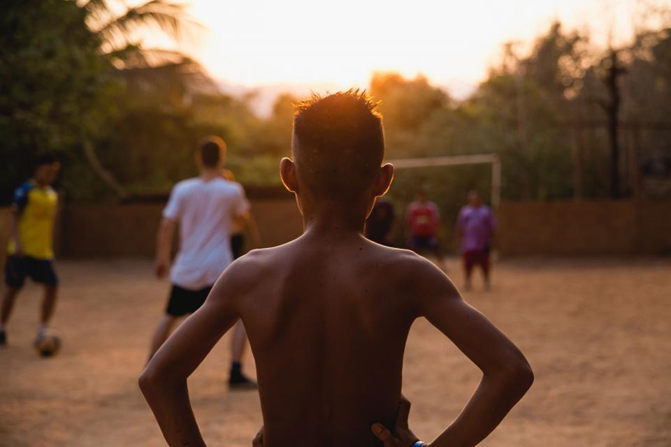 people, playing, game, ball, sport, back, boys, sunset, outdoor
