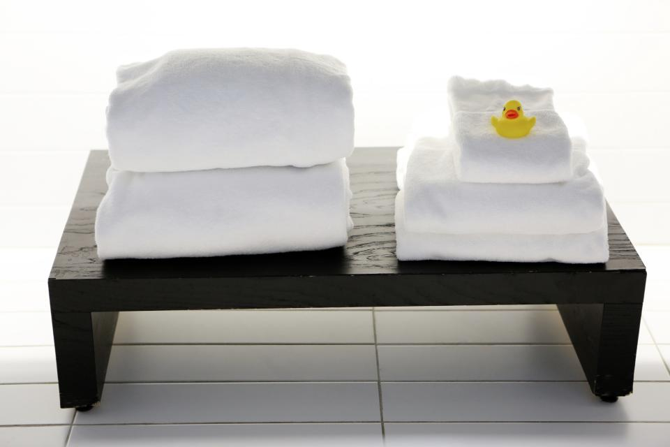 spa, white, towels, tiles, bench, yellow, rubber, duck, massage