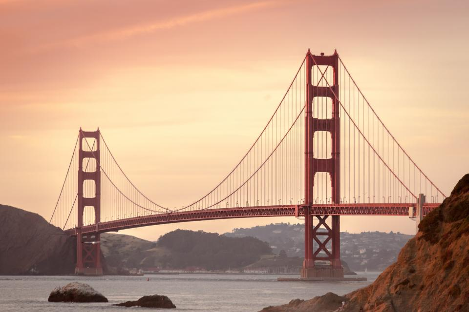 sunset, sky, golden gate bridge, suspension, architecture, san francisco, usa, united states, red, city, water, mountains