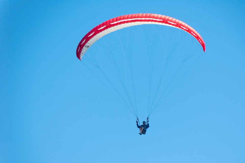 paraglide, blue sky, fly, person, athlete, sport, free, light, red, peace, calm, adrenaline, exciting, people