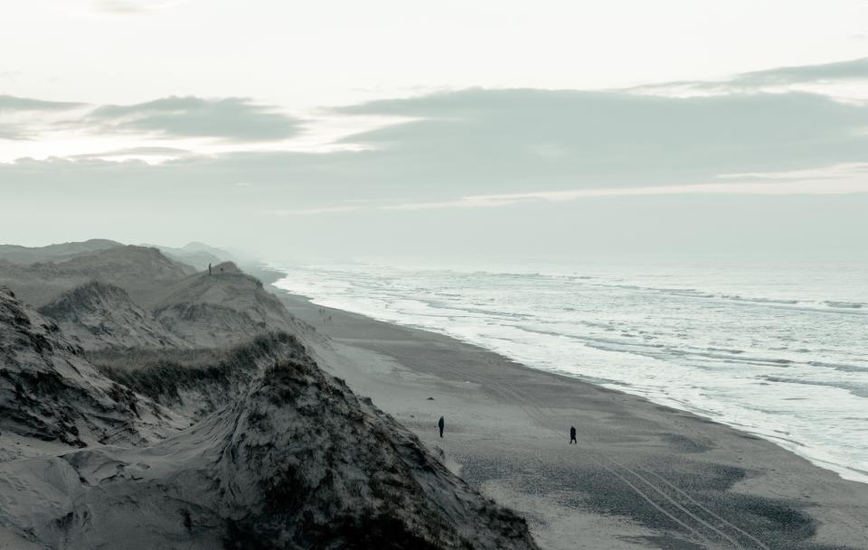 ocean, sea, wave, clouds, sky, rocks, formation, travel, trip, adventure, mountains, water, sand, people