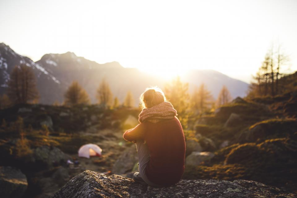 people, sitting, girl, alone, sad, adventure, outdoor, travel, tent, camping, mountains, sky, nature, sunlight, sunset, sunshine, shade, rocks, grass, landscape