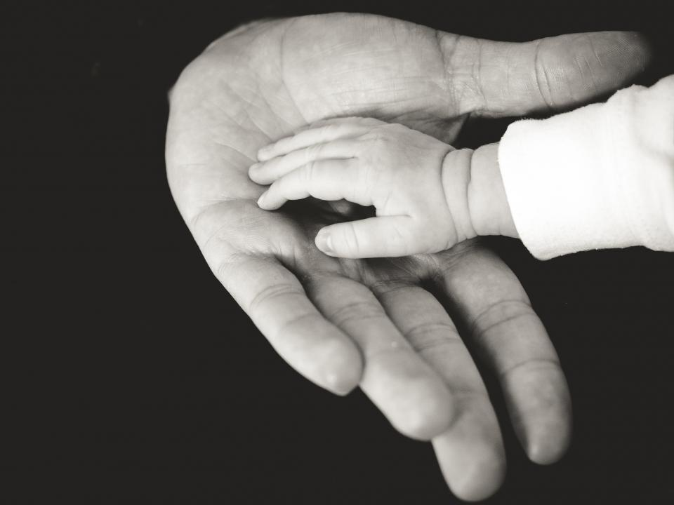 hands baby child family parent black and white