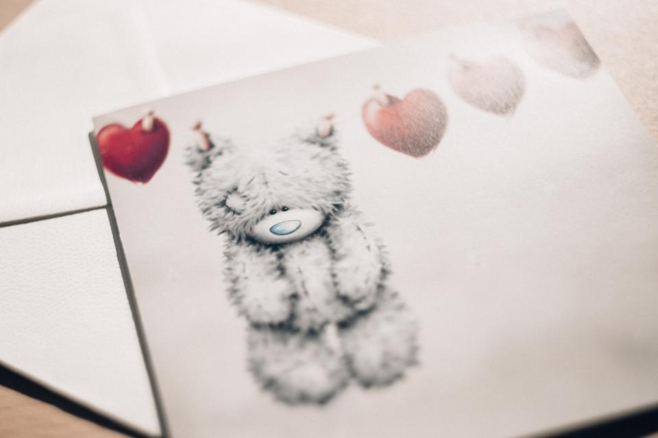 bear, letter, valentines, heart, love, cute, sweet, message, envelope