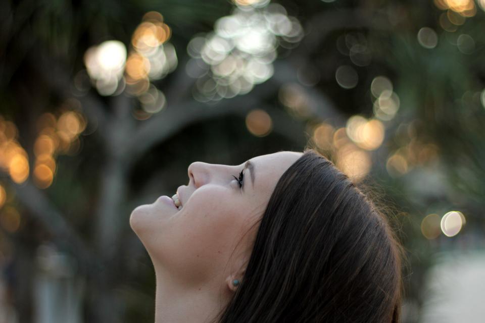 people girl female smile happy beauty head bokeh