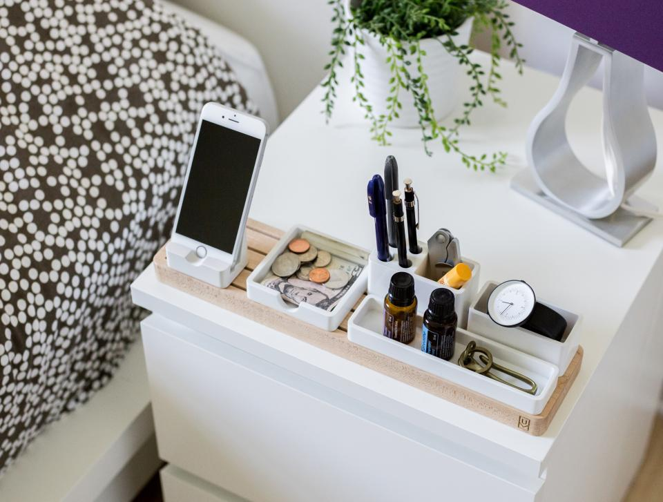 bedroom, white, table, money, bill, coins, mobile, phone, apple, electronic, gadget, touchscreen, bed, accessories, display