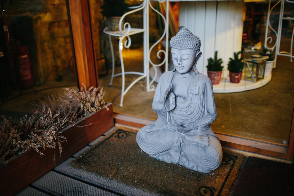 house, glass, door, flower, plant, sculpture, buddha, figure