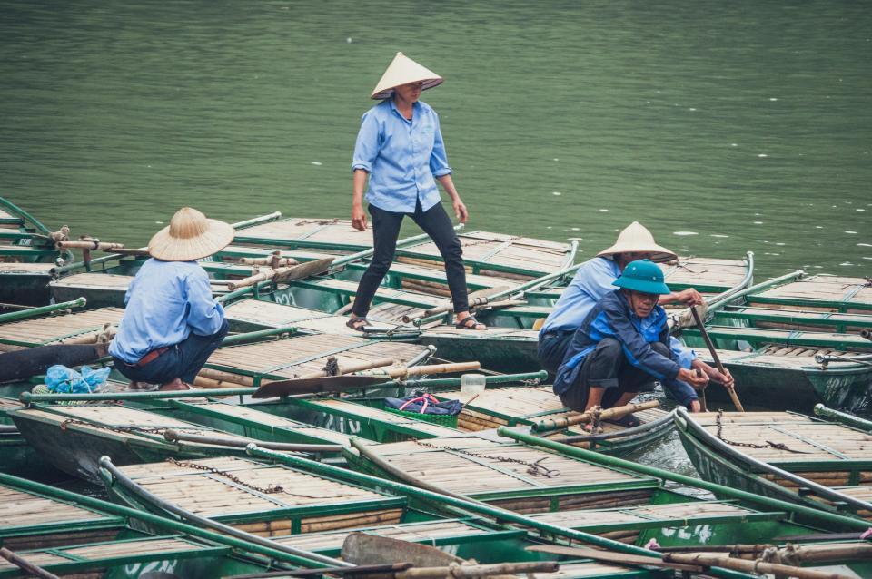 people, men, hat, boat, paddle, sea, water, fishing, sailing