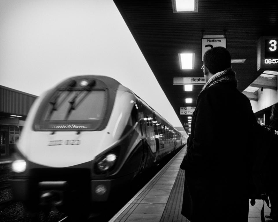 train, station, rail, trail, waiting, people, black and white, monochrome