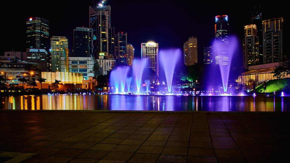city, dark, night, lights, fountain, display, skyline, architecture, building, infrastructure, park, tree