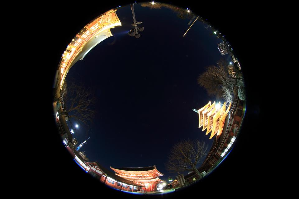 round, circle, china, temple, architecture, building, establishment, dark, night