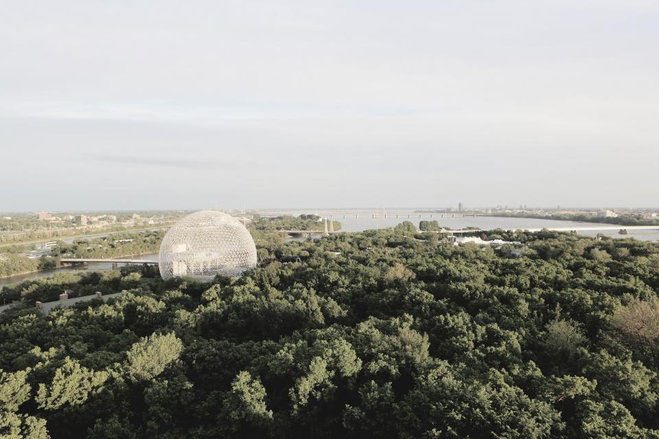 biosphere landscape trees montreal water bridge nature view panoramic