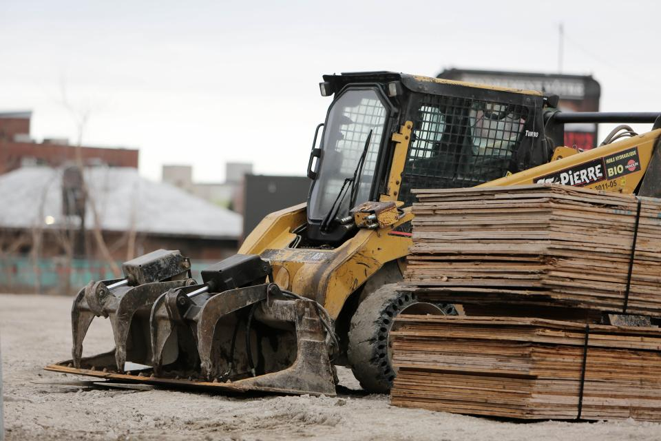 construction, truck, backhoe, equipment, dirt, cage, wood, materials