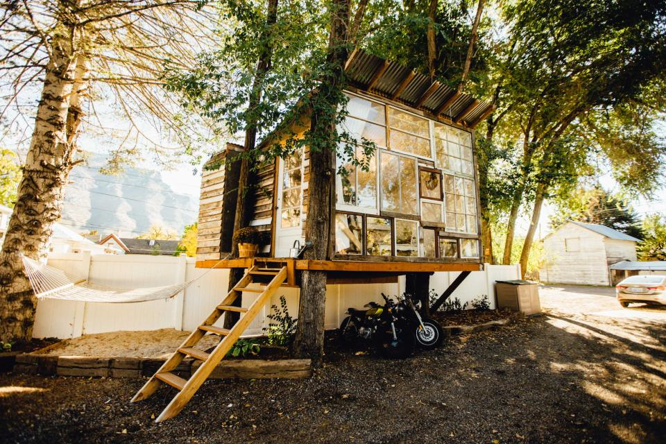 nature, architecture, small, house, motorcycle, trees, community, swing, hammock