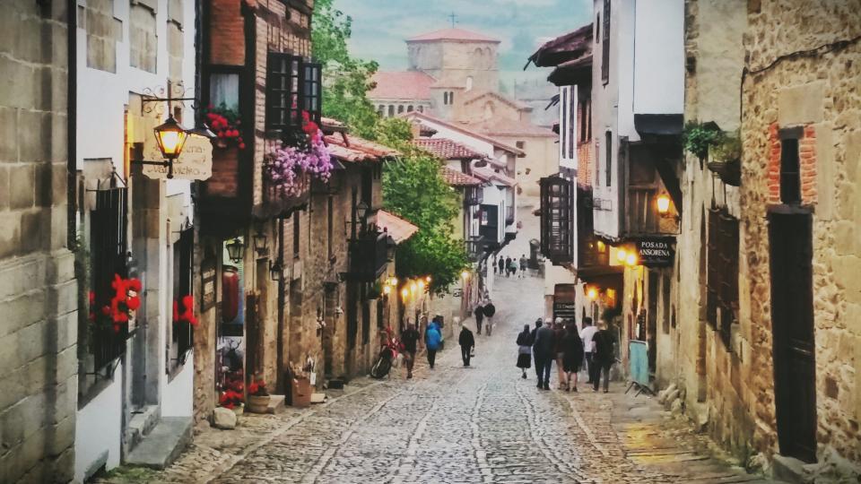 street, road, alley, people, walking, men, women, motorcycle, building, window, wall, lights