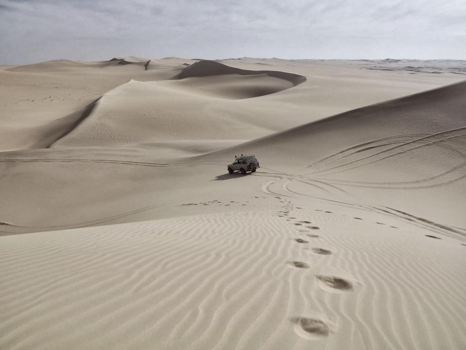 desert, sand, footprints, tire tracks, truck, offroad, hills