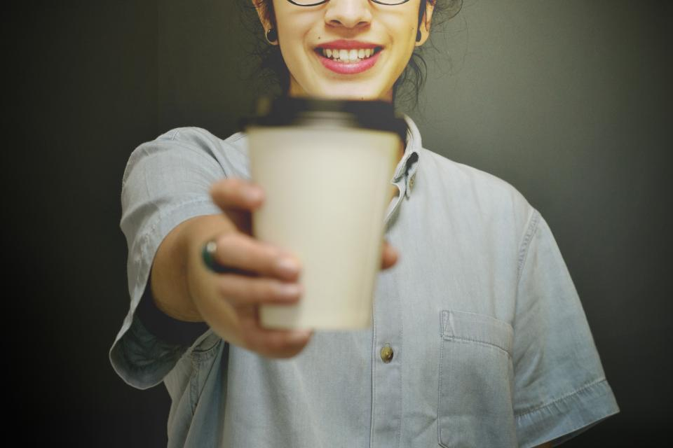 people, girl, beauty, fashion, smile, happy, hand, cup, coffee