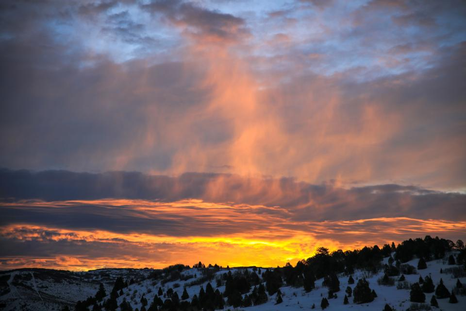 mountain snow pine tree clouds sky sunset nature winter weather view cold