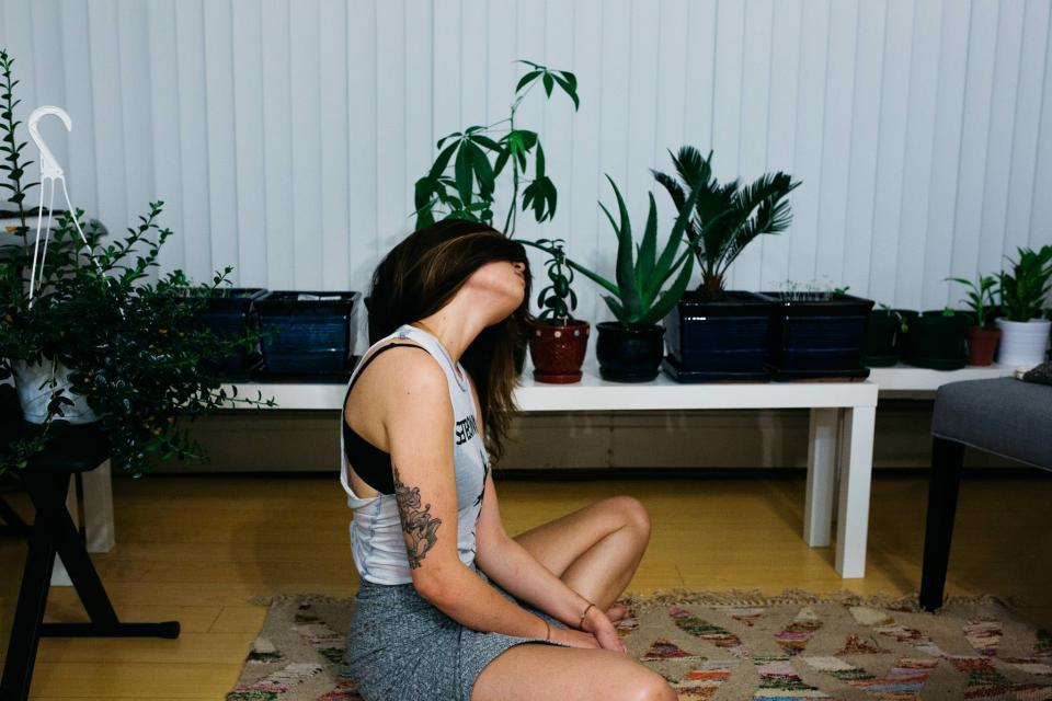 fitness, exercise, yoga, health, working out, girl, woman, people, room, plants, rug