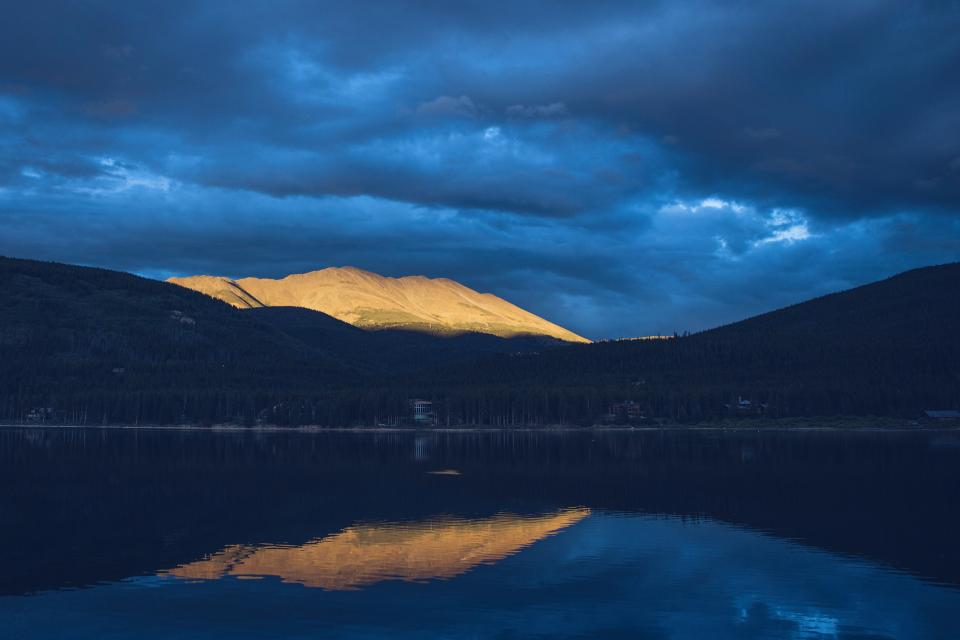 lake water reflection landscape mountains dark night blue sky clouds cloudy nature outdoors