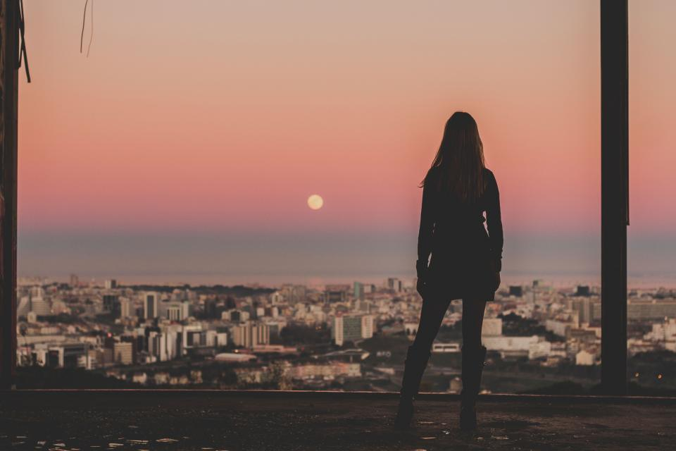 architecture, building, infrastructure, sky, skyscraper, tower, skyline, city, urban, view, moon, people, girl, standing, waiting, alone, sad, silhouette