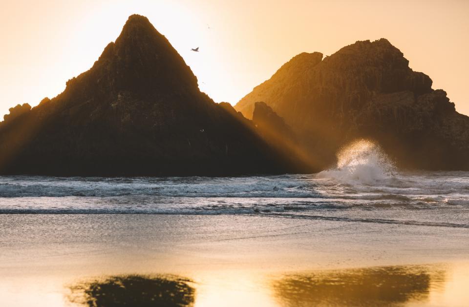mountain, valley, hill, nature, landscape, sea, water, ocean, waves, splash, bird, animal, fly, sky, sunlight, , sunset, sunrise