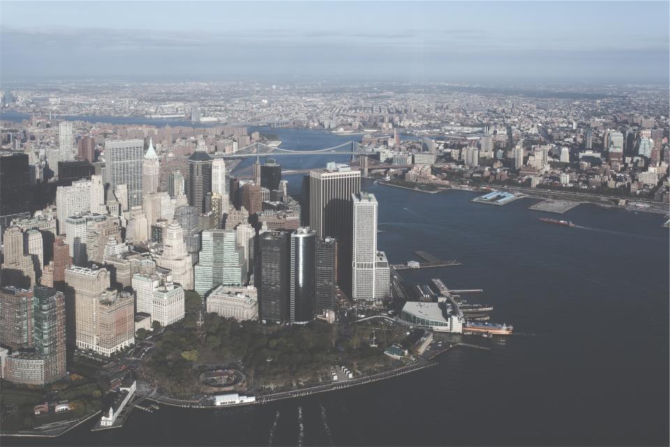 New York, city, skyline, buildings, high rises, towers, rooftops, architecture, aerial, bridge, water, boats, NYC, United States of America