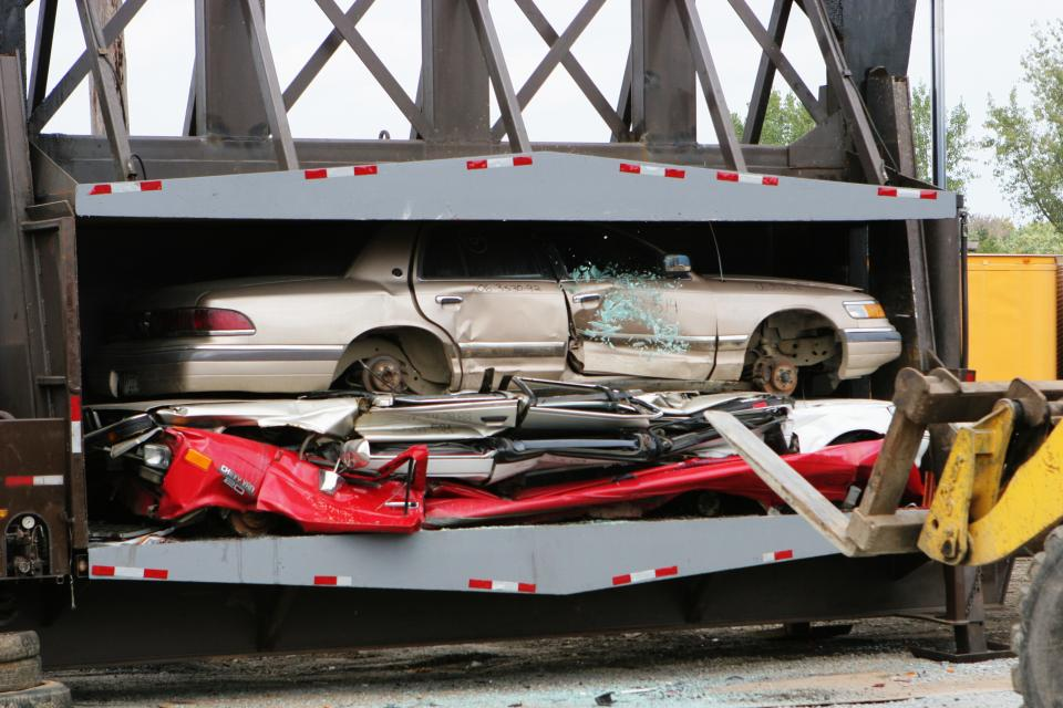 car, compound, crushed, parts, machinery, equipment, compression, damaged, destroyed