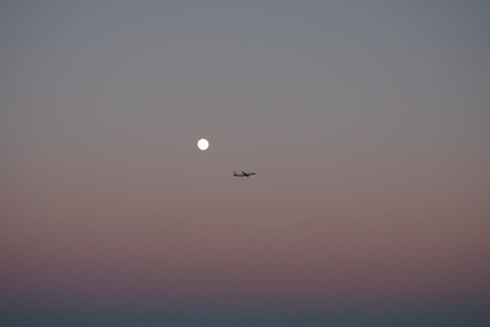clouds, sky, airplane, travel, adventure, moon