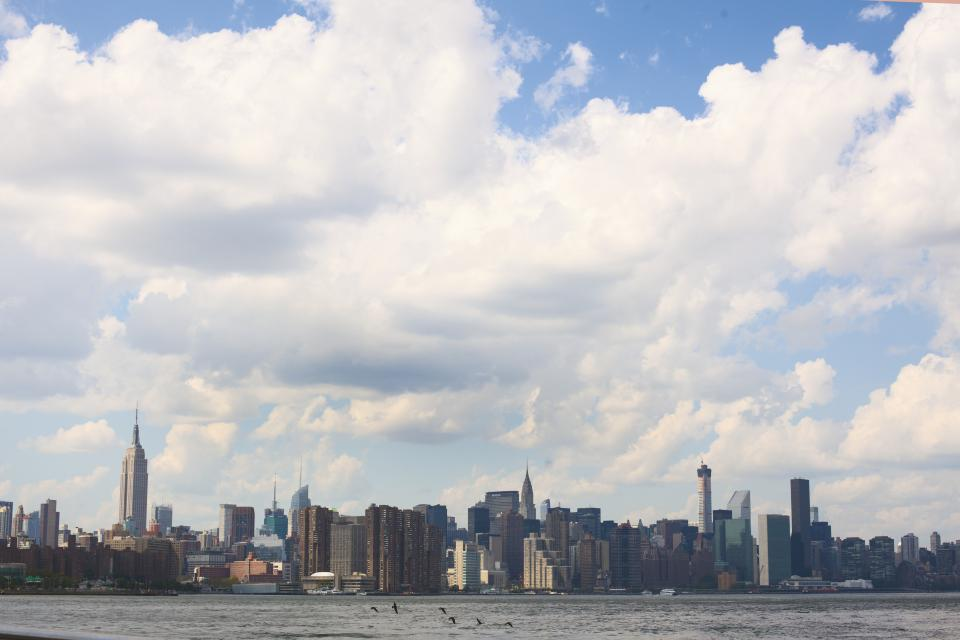 sky, clouds, skyline, view, new york, city, usa, united states, water, buildings, towers, skyscrapers, birds, harbor, boats