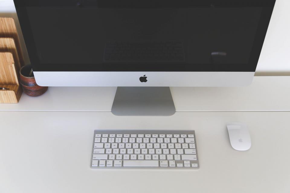 mac computer desktop keyboard mouse office desk business technology